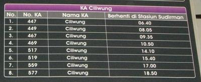 KA Ciliwung Timetable