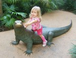 Child Sitting on Komodo Dragon