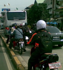 Motorbikes in busway lanes