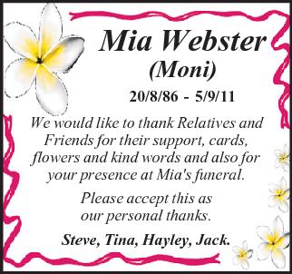 Mia Webster Funeral Notice