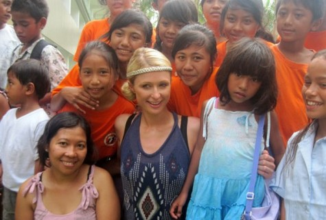 Paris Hilton visits an orphanage