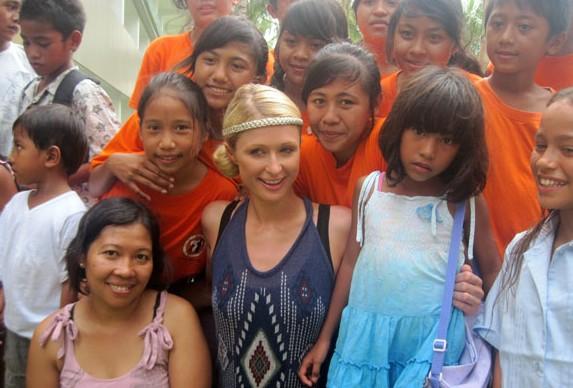 Paris Hilton visits an orphanage