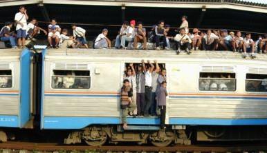 Overcrowded Commuter Train Jakarta