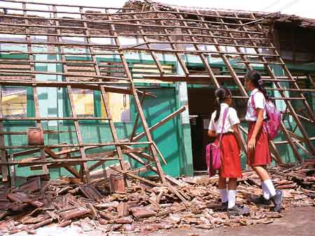 Leaky School Roof in Pesawaran Regency, Lampung