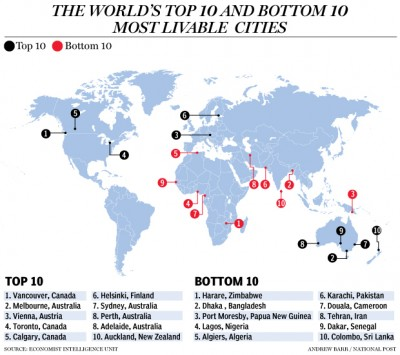 Map of world's most liveable cities