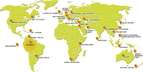 New Seven Wonders of Nature Map